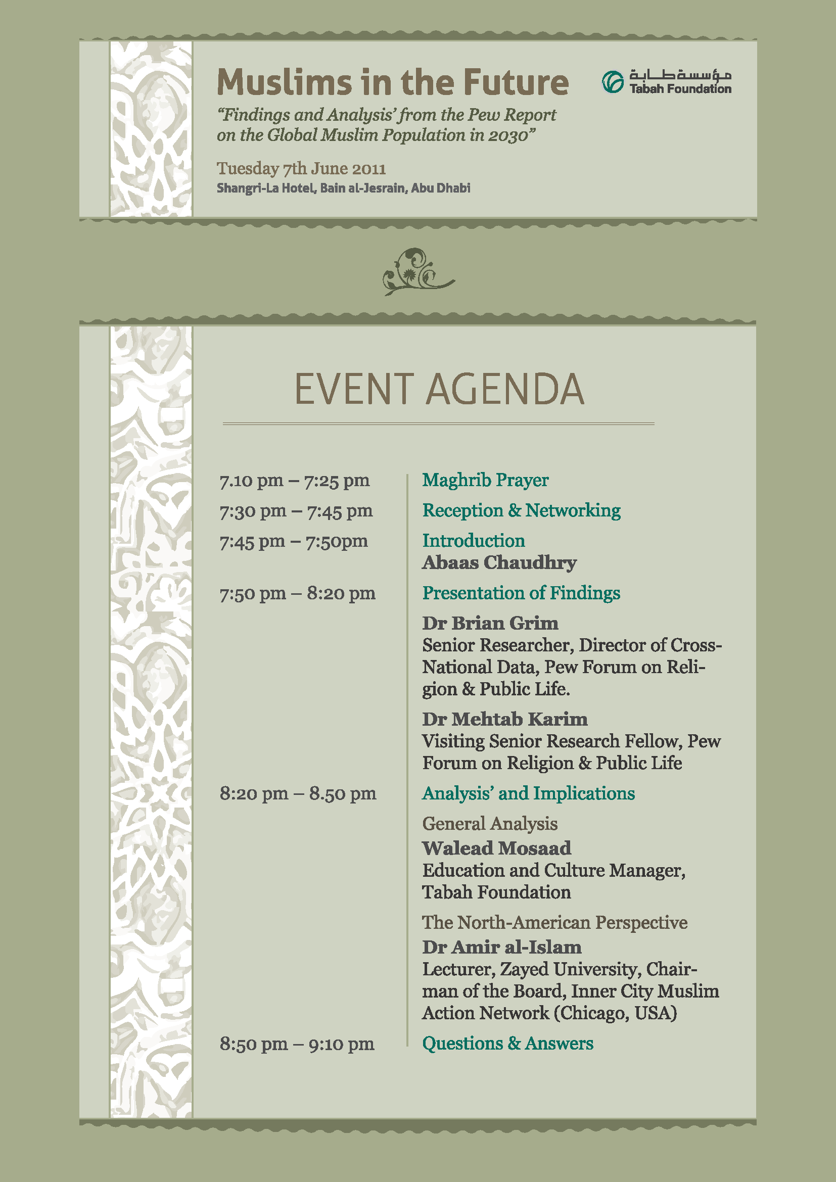 Invitation to attend event on Muslims in the Future News – Event Agenda